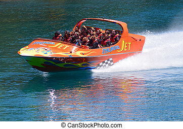 High speed jet boat ride - Queenstown NZ - QUEENSTOWN, NZ -...
