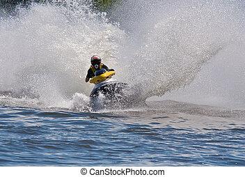 High-speed jetski - Man Riding Jet Ski Personal Watercraft