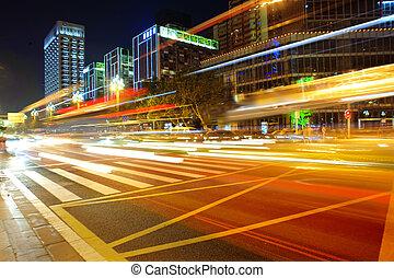 high-speed, køretøjene, på, urban, veje