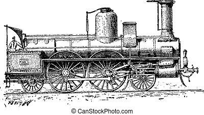 High-speed Locomotive, vintage engraving