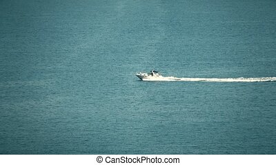 High speed motorboat moves at sea - High speed motor boat...