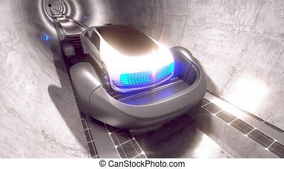 High-speed movement of the car in the tunnel on the platform. The technology of the future of high-speed tunnels. High quality 4k footage