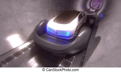High-speed movement of the car on a platform, in a round tunnel. Future technology, tunnel highways. High quality 4k footage