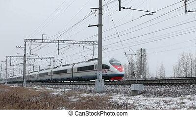 High-speed passenger train in motion - St. Petersburg, ...