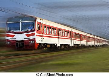 High speed passenger train on the way