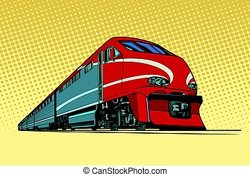 high speed passenger train. Passenger rail transport. Pop...
