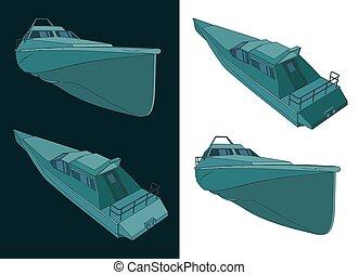 High speed patrol boat blueprints