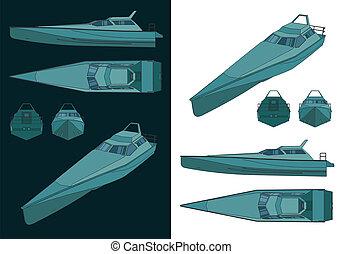 High speed patrol boat color drawings