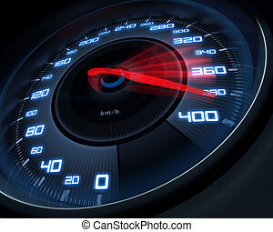 High Speed - Speedometer scoring high speed in a fast motion...