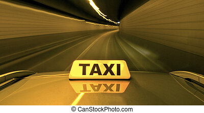 High speed taxi - A taxi, racing through a tunnel overtaking...