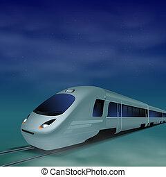 High-speed train at night.