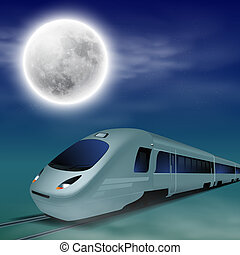 High-speed train at night with full moon.
