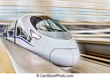 High speed train at the railways station. - Modern high...