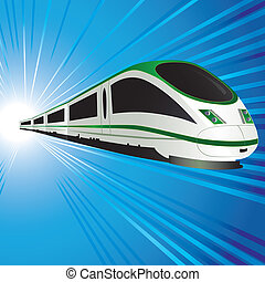 High-speed train on abstract tunnel background. Vector...