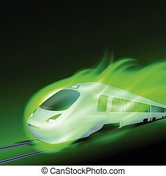 High-speed train in motion green flame at night.