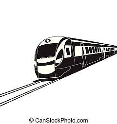 High speed train on white background