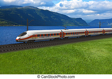 High speed train passing by the mountains and flords -...