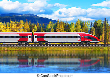 High speed train - Creative abstract railroad travel and...