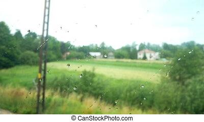 High speed train rain - Close up of window glass with rain...