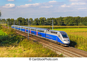 High-speed train Strasbourg - Paris, France