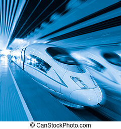 High speed train - two modern high speed train with motion ...