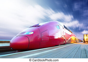 High-speed train with motion blur outdoor