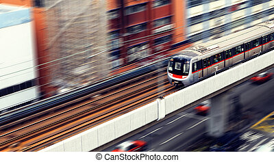 high-speed train with motion blur outdoor.