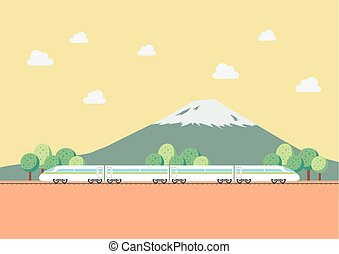 High speed train with nature background