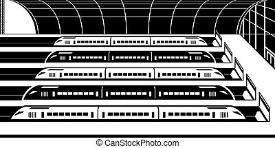 High speed trains at railway station