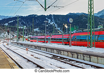 High-speed trains stopped at the Garmisch-Partenkirchen railway station