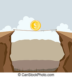 Vector illustration of a dollar coin crossing two cliffs on a tight rope.