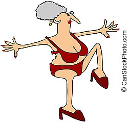 This illustration depicts an old woman in a red bikini holding her left leg high.