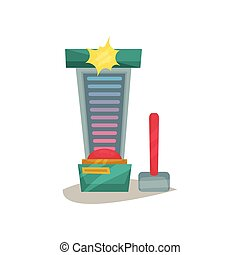 High striker attraction with big hammer, strength tester machine vector Illustration on a white background