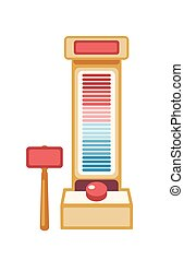 High striker machine flat vector illustration. Strength tester game isolated on white background. Amusement park attraction with hammer and strike weight scale. Carnival entertainment design element.