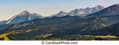 High Tatra mountain ridge evening in Poland. View to...