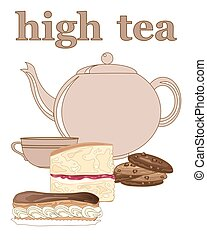 high tea - a vector illustration in eps 10 format of an...