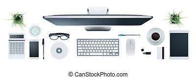 high tech, affärsskrivbord
