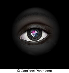 High-tech background with camera lens eye - Background with...