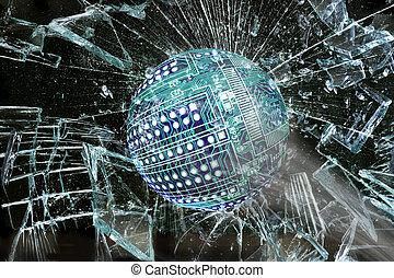High Tech Ball Going Through Glass.