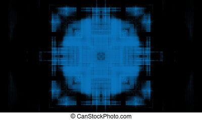 High tech blue on black abstraction looping animated backdrop