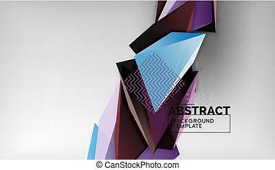 high-tech, business, toile de fond, couleur, résumé, papier peint, triangulaire, gris, formes, fond, conceptuel, composition, géométrique, ou, triangles, 3d