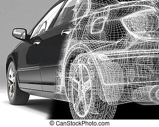 high-tech car - High resolution image car on a black...