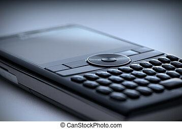 High tech cell phone - blue - Shallow focus closeup of a ...