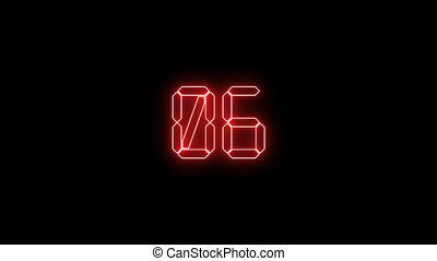 High-tech digital countdown timer from 10 to 0 on dark...