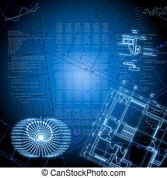 High-tech drawings and graphics on a blue background. The concept of technology and business
