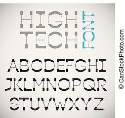 High tech font, vector