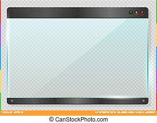 High-tech futuristic design glass plate. Cyber technology horizontal information window