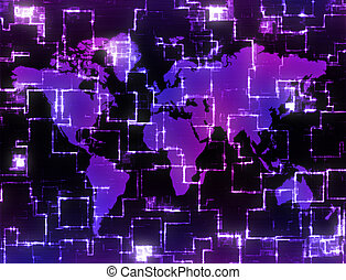 high tech map - world map background image on high tech...