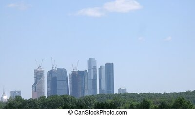 High-tech Moscow buildings, view from Grebnoi canal, time...