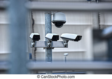 High tech overhead security camera system in guarded area -...